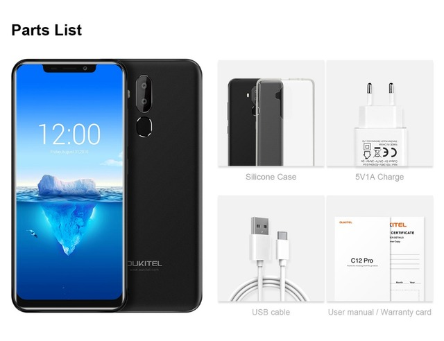 Oukitel C12 Pro Face ID 6.18Inch 19:9 U-notch Display Android 8.1 2GB RAM 16GB ROM MT6739 3300mAh Battery 8MP+5MP 4G Smartphone 5