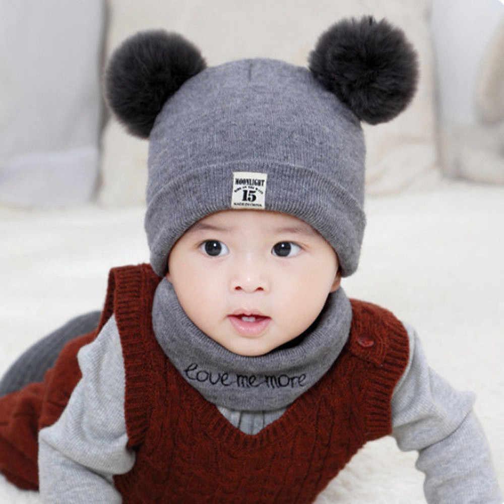 e8fe6b7a ... Kids Winter Wool Hats Scarf For Baby Boys Girls Fur Ball Pom Hat  O-Collar ...
