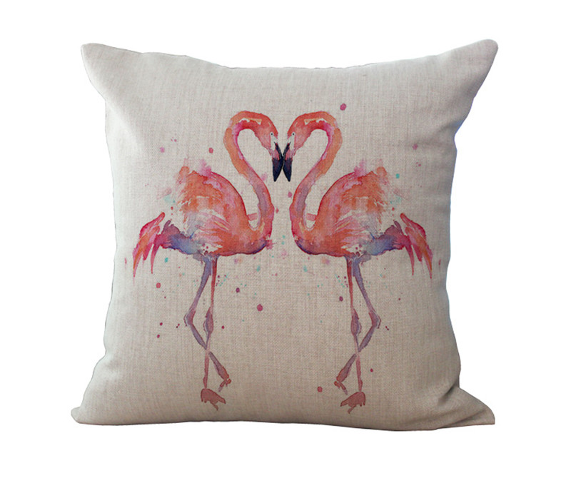 1x Cushion Cover Pillow Furnishings Home Pink Flamingo
