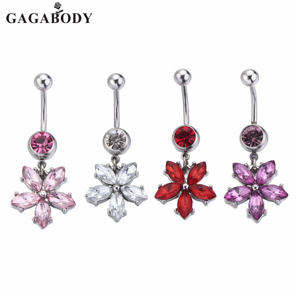 Dangle Rose Belly Button Rings