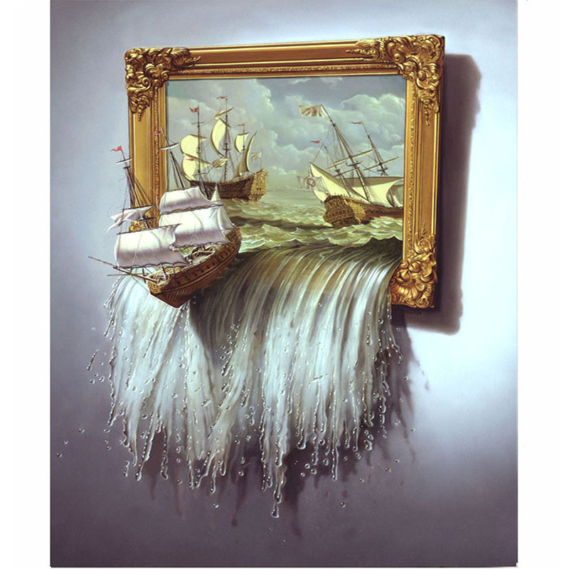 Diamond Embroidery Painting-Landscape-Ship Cross-Stitch Home-Decor Gift 3D Round Full