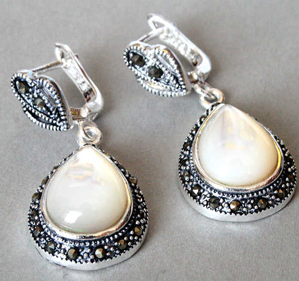 "unique lady's 925 Silver Natural White Sea Shell Marcasite Waterdrop Earrings 11/2"" STONE"