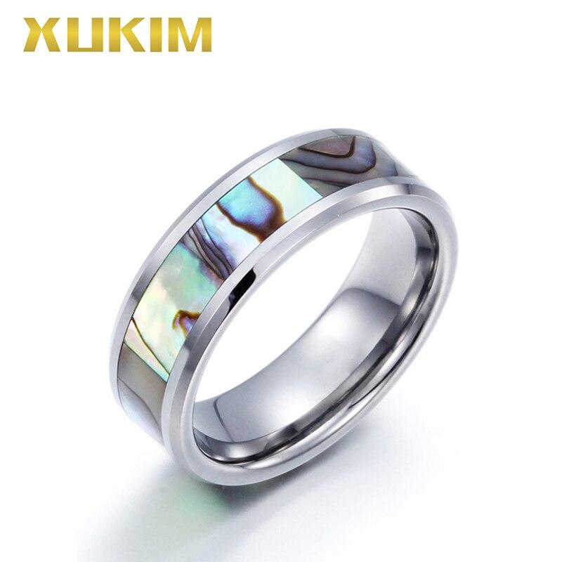 TSR214 Xukim bijoux en acier inoxydable résine anneau couleur abalone shell anneau argent femmes hommes bague de mariage tungstène hommes anneau