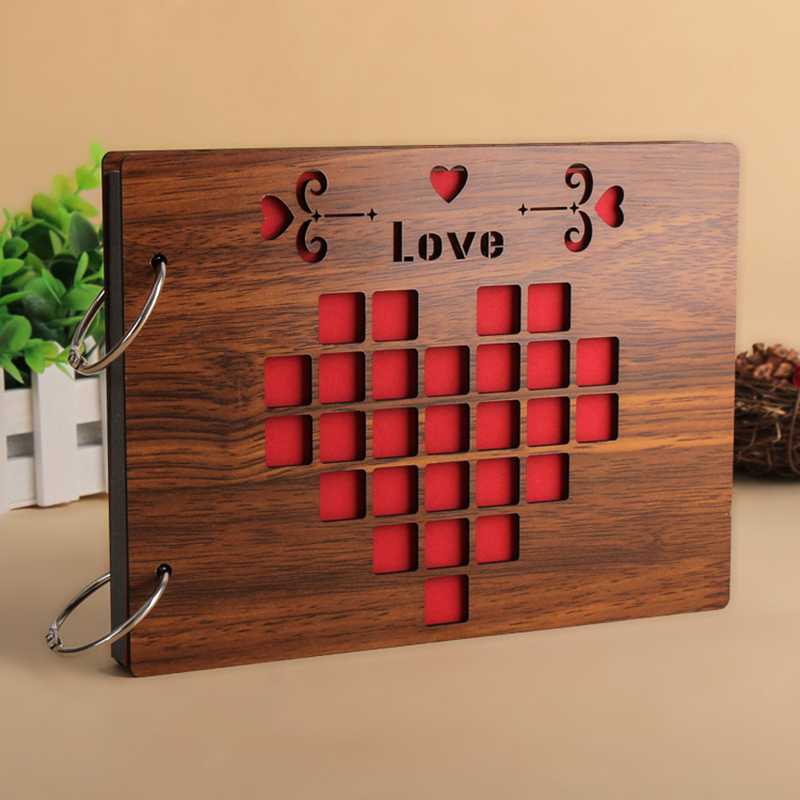 8 Inch Wood Cover Albums Handmade Loose-leaf Pasted Photo Album Personalized Baby Lovers DIY Wedding Memorial Photo Album