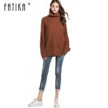 FATIKA осенне-зимние женские свитера и пуловеры больших размеров, толстые вязаные свитера с высоким воротом, свободные джемперы с длинным рукавом