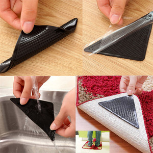 4Pcs Home Floor Rug Carpet Mat Grippers Self-adhesive Anti Slip Tri Sticker Reusable Washable Silicone Grip Sticker Pads D#3(China)