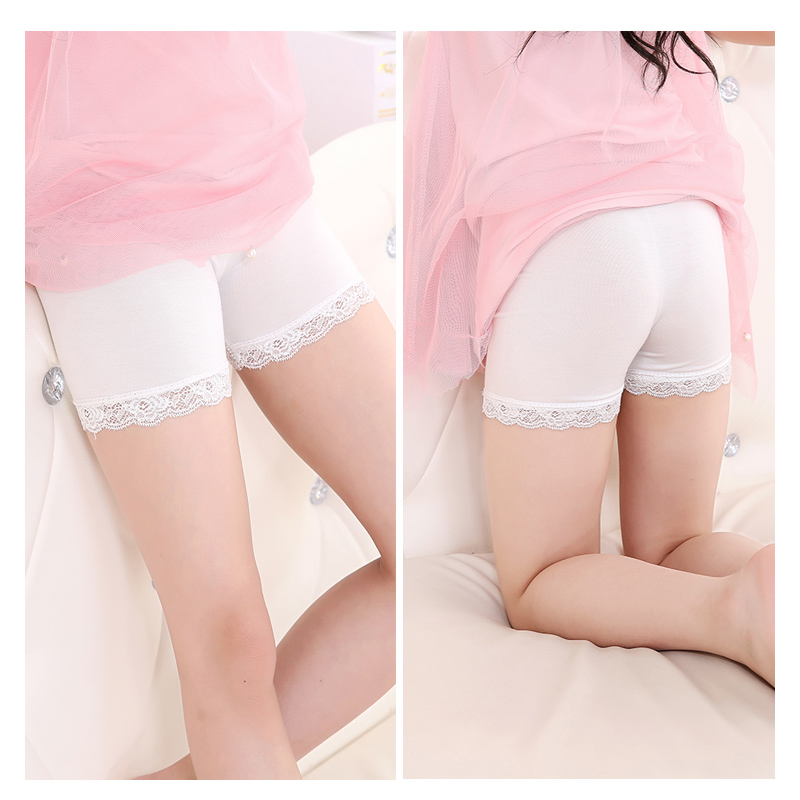 09ac1f06302 Pink girls legging shorts with white lace