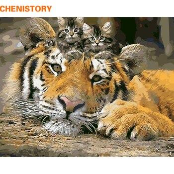 CHENISTORY Animali FAI DA TE Pittura Dai Numeri Tiger Cat Vernice Dai Numeri Immagine Casa Wall Art Pittura Calligrafia 40x50 cm Opere D'arte