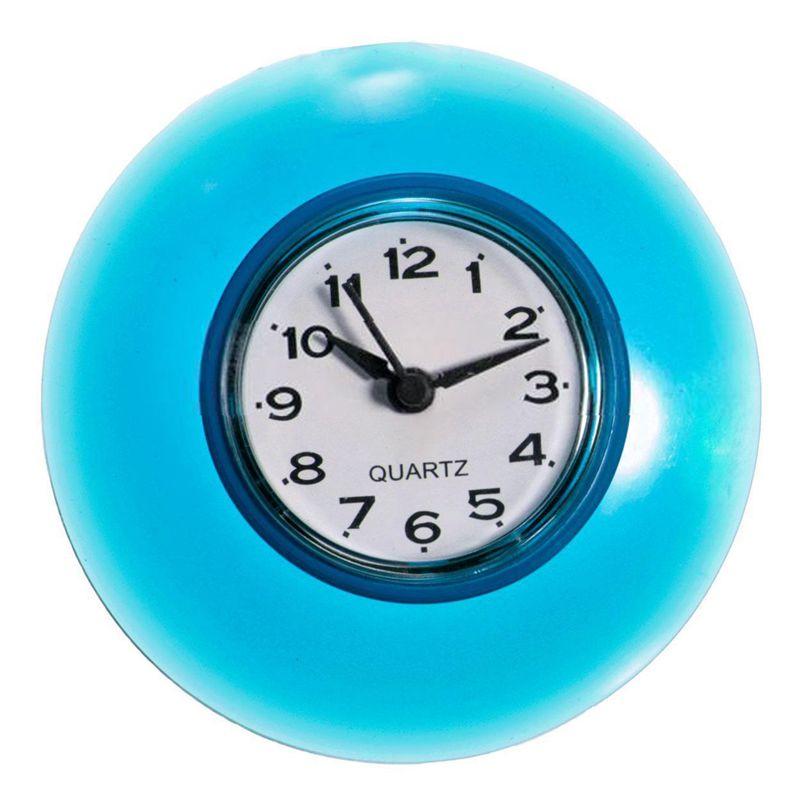 Waterproof Shower Clock Bathroom Kitchen Suction Home Clock Wall Timer 3.39inch Blue
