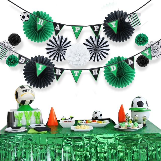 Soccer Themed Party Decoration Set Happy Birthday Banner Tissue Paper Fans Polka Dot Poms Green