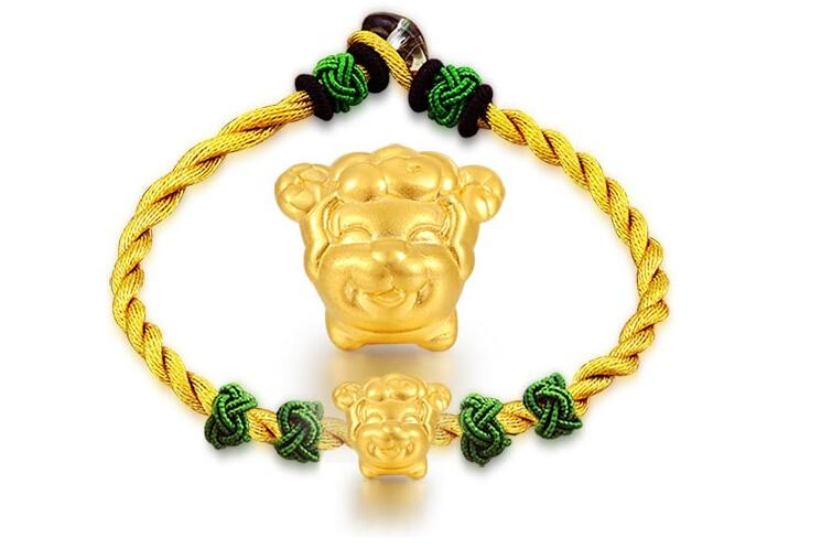 999 3D 24K Yellow gold 12 Chinese Zodiac Sheep Knitted Bracelet цена
