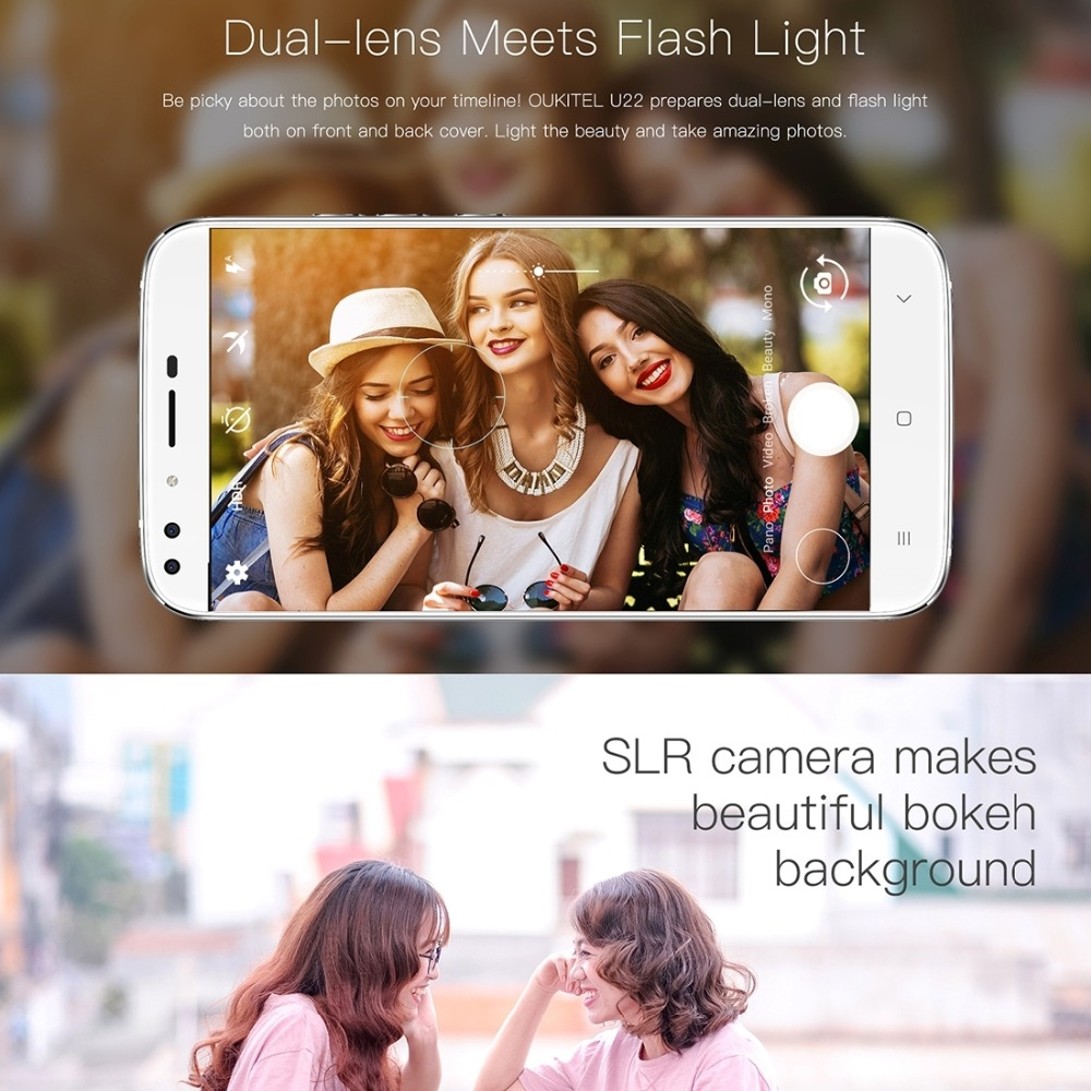 Oukitel U22 Android 7.0 MTK6850A Quad Core 1.3GHz Smartphone 2G RAM 16G ROM 5.5 Mobile Phone Fingerprint Touch ID OTA Cellphone