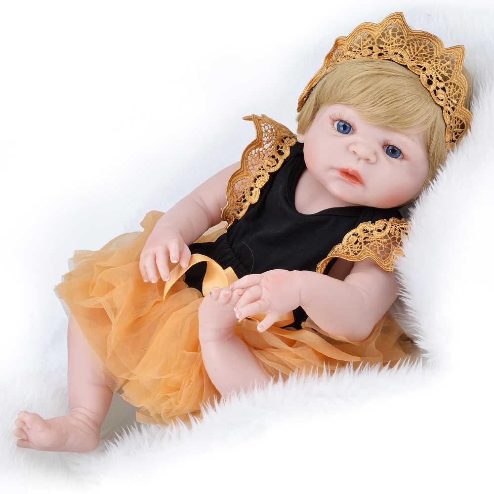 55cm 22 polegada Corpo Cheio de Silicone Lifelike Renascer Baby Doll Toy Adorável Criança bebes reborn inteiro corpo de silicone realista