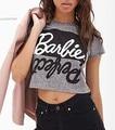Señoras del verano Impresión Atractiva Carta Top Tee de Manga Corta Gris Crop Tops Recortada Mujeres Punk Hip Hop Camisetas