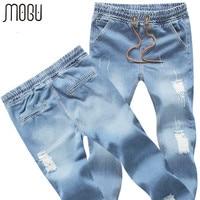 2015 New Jeans Men Full Length Cuffed Jeans Plus Size 5XL Elastic Waist Jeans Men Light