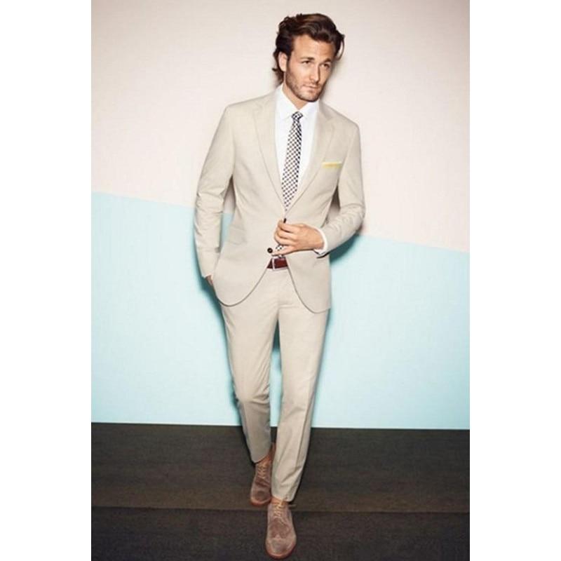 New 2017 Custom Made Beige Wedding Tuxedos ( Jacket+Pants) Cheap Real Image Formal Groomsmen Groom Men Suit Regular Mens Suits