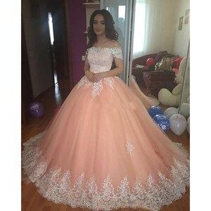 16 милых персиковых пышных платьев 2018 с открытыми плечами с аппликацией пышный корсет бальное платье принцессы для девочек 15 лет вечерние пл...