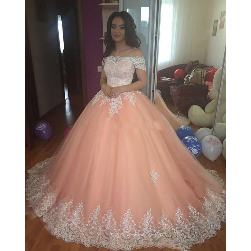 Sweet 16 Peach Quinceanera Dresses 2018 Off Shoulder
