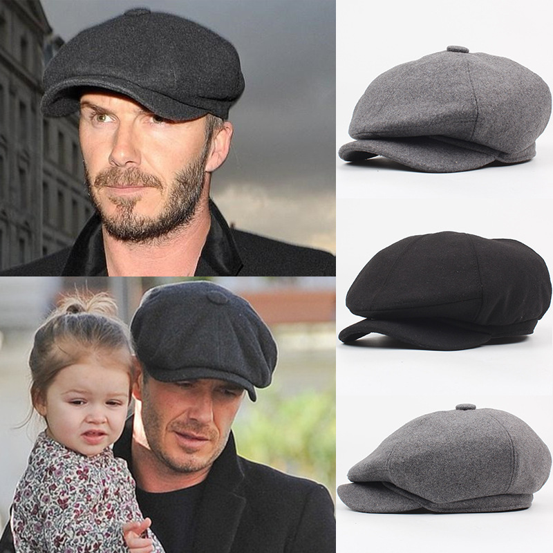 Newsboy-Beret-Hat Octagonal-Cap Flat-Hats Ivy-Caps Golf-Driving Wool Peaky Blinders Winter