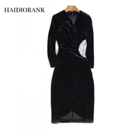 Vfemage Women Autumn Winter Elegant Long Flare Bell Sleeve Fashion Vintage Pinup Formal Party Cocktail Bodycon