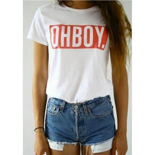Oh Boy print women t-shirt tops new fashion summer tees t shirt Harajuku style white women's clothing 2017 ladies and girls POP