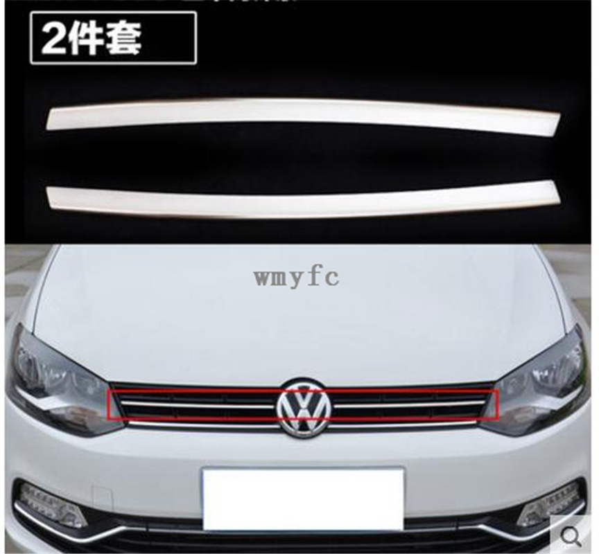 fit For vw Volkswagen polo 2014 2015 2016 2017 2pcs Front Grille Around Trim Front Grills Around Trim Racing Grills Trim high quality stainless steel front grille around trim front bumper around trim racing grills trim for 2014 toyota corolla