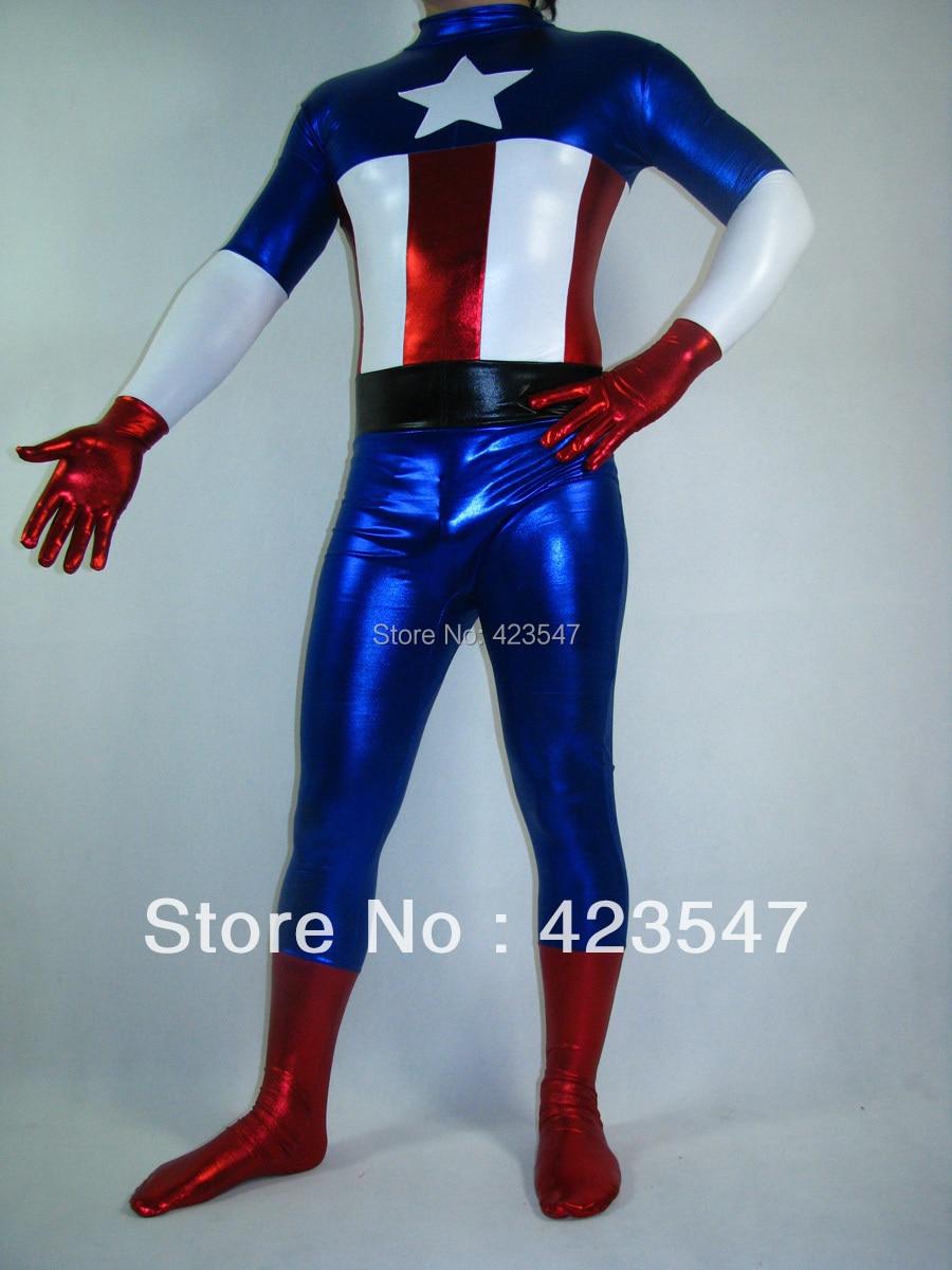 Shiny Metallic Captain America Superhero Costume Zentai Suits Halloween Party Costumes