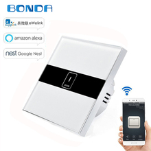 BDNOA Standard 1 Gang Wireless Control Light Switches Wall Touch Switch WIFI Control Switch via Smartphone