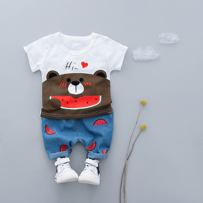 Cartoon Baby Boy Clothing Set Summer 2018 New Style Infant Clothes Baby Girls Clothing Cotton Short Sleeve Baby Boy Clothes 3pcs set newborn infant baby boy girl clothes 2017 summer short sleeve leopard floral romper bodysuit headband shoes outfits
