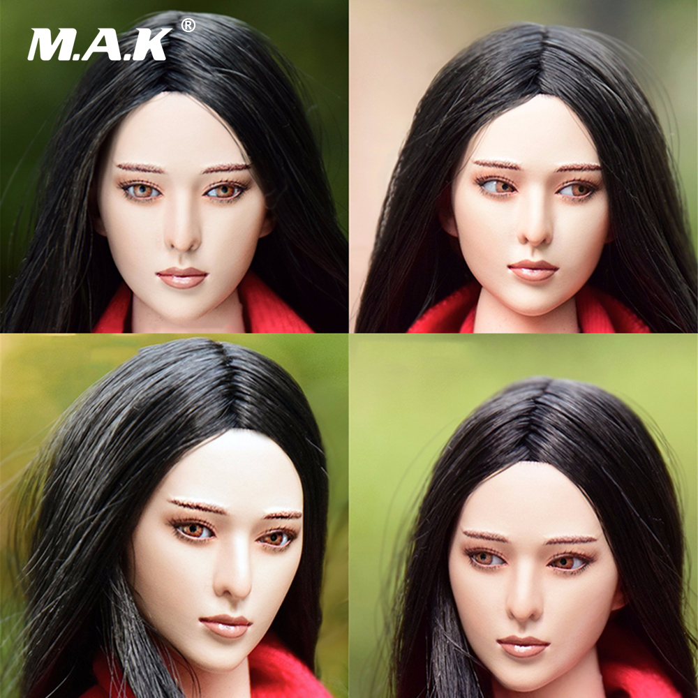 1/6 Scale China Feamle Star Bingbing Fan Head Sculpt Eyes Movable Asian Beauty Headplay Model for 12 Inches Action Figure Body dstoys d 005 1 6 scale female head sculpt beauty girl headplay long curly hair for 12 ht phicen action figure