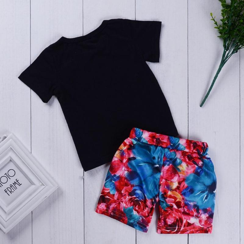 Newborn Infant Baby Girls Boys Short Sleeve Letter Life Beach Print T-shirt Shorts Outfits Fashion Clothing Sets Clothing Sets Boys' Baby Clothing 3m-24m