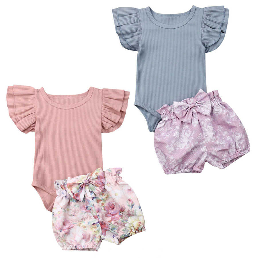 Newborn Kid 2pcs Clothes Baby Girl Infant Ruffle Romper Tops+Bowknot Floral Shorts Pants Casual Cotton Outfit Set 0-24M Hot Sell