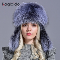 Raglaido Winter hat Snow Russian Fur Hat for Women and Men Bomber Hats Real Fur Thick Warm Fox+ Sheepskin Caps LQ11189