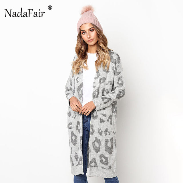 9e12cf6c27a2 Online Shop Nadafair leopard print long cardigans winter clothes ...