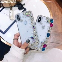 XINGDUO handmade case Glitter Diamonds for iphone 7 8 6 6S Plus fashion Pearl cute phone shell X XS XR MAX