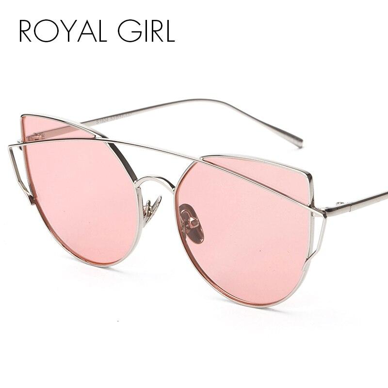 d59282f4bab4cc ROYAL FILLE Nouvelle Mode Cat Eye lunettes de Soleil Femmes Classique Marque  Designer Double Poutres Lunettes de Soleil Miroir Objectif UV400 ss092