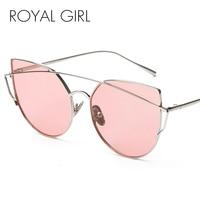 ROYAL GIRL New Fashion Cat Eye Sunglasses Women Classic Brand Designer Twin Beams Sun Glasses Mirror Lens UV400 ss092