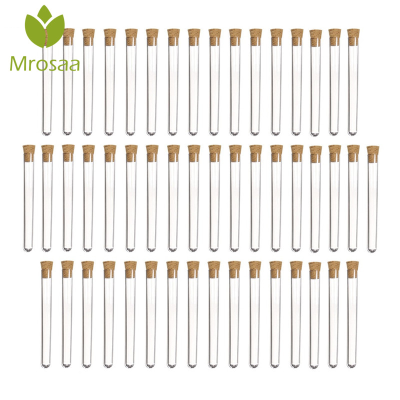 Best Deal Mrosaa 50pcs/pack 20ml Transparent Plastic Test Tubes With Corks Stoppers Laboratory School Educational Suppy 150x16mm