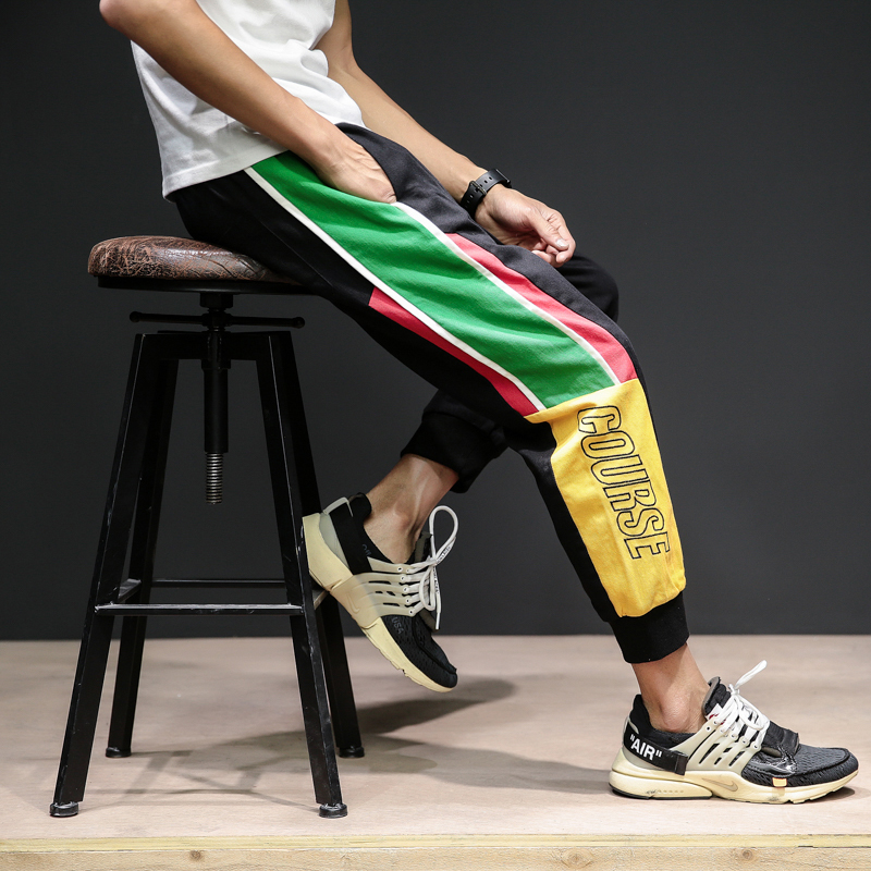 Autumn Customs Hit Color Letter Embroidery Wash Nine Part Leisure Time Pants Tide Men Drawstring Pants Upon Haren Male 2019(China)