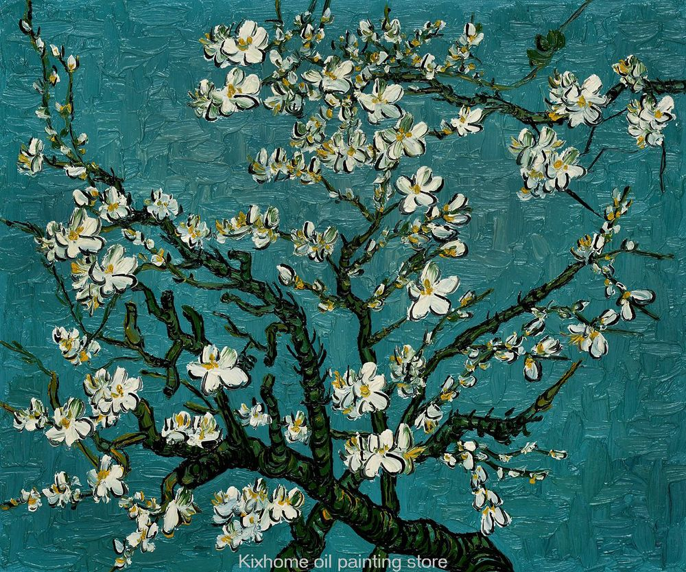 Branches Of An Almond Tree In Blossom Large Oil Painting