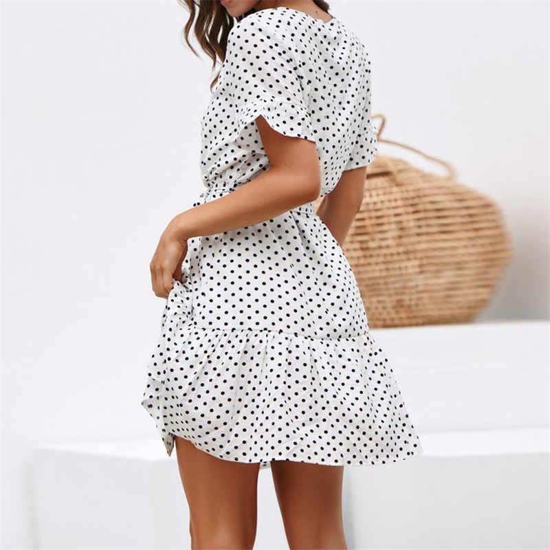 Летнее шифоновое платье в горошек, богемное пляжное платье, винтажное платье с оборками, короткий рукав, а-силуэт, вечерние мини-платье, сарафан, Vestidos, большие размеры