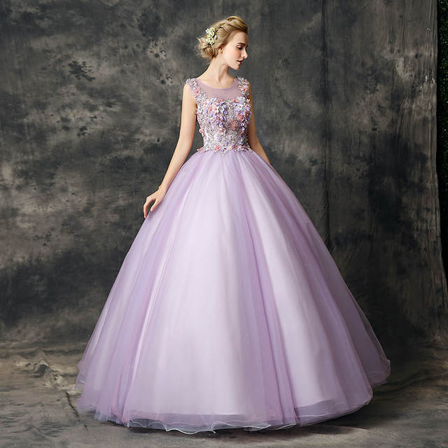 853bac4e8e8f Online Shop Walk Beside You Lilac Quinceanera Dresses vestidos de 15 anos  Lace Applique Floral Ball Gown Sleeveless Debutante Sweet 16 Dress