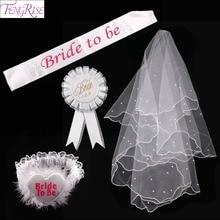 FENGRISE 4 Pieces Set Bride To Be Wedding Sash Sexy White Garter Veil Badge Bridal Shower Hen Party Decoration Supplies