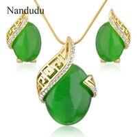 Nandudu Green Stone Necklace Earrings Jewelry Sets Gold Plated Fashion Women Girl Jewelry Gift N883