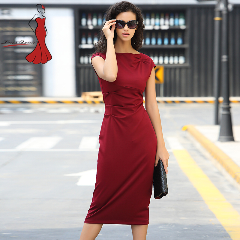 Deviz Queen Elegant Office Dresses Brand 2017 New O Neck Design Women s Casual Slim Wiggle