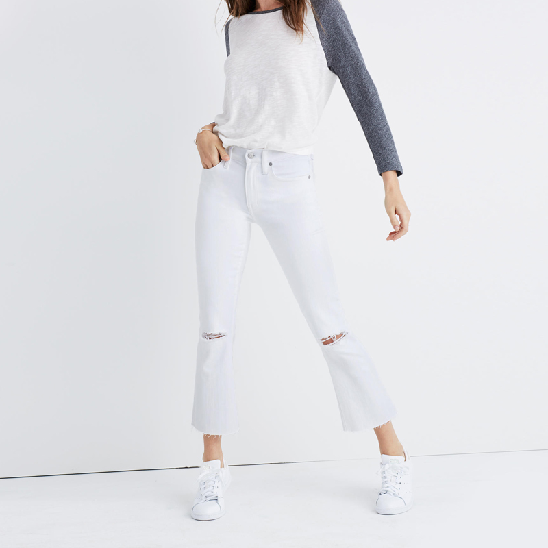 2017 Women Skinny Jeans cropped slim flare wide leg Mid/high waist Rise White denim in distressed frayed  2017 spring elastic frayed skinny jeans women classic high rise with rips two colors