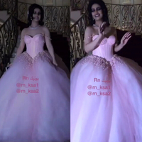Pearls Wedding Gowns Ball Gown Sweetheart Neckline Puffy Tulle Pink New Wedding Dresses Bridal Dresses Saudi Arabic
