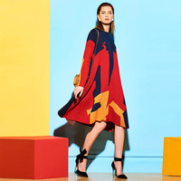 Sisjuly Woman Dress Causal Loose Color Block Print Knit Full Sleeve Warm Pullovers Long Causal 2017