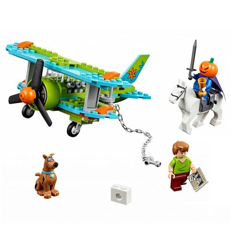 Scooby Doo model building kits blocks 128pcs Bela 10429 Mystery Plane Dog brick toys Compatible with lego kid gift set birthday bela 10429 scooby doo mummy museum mysterious plane minifigures building block minifigure toys best legoelieds toys