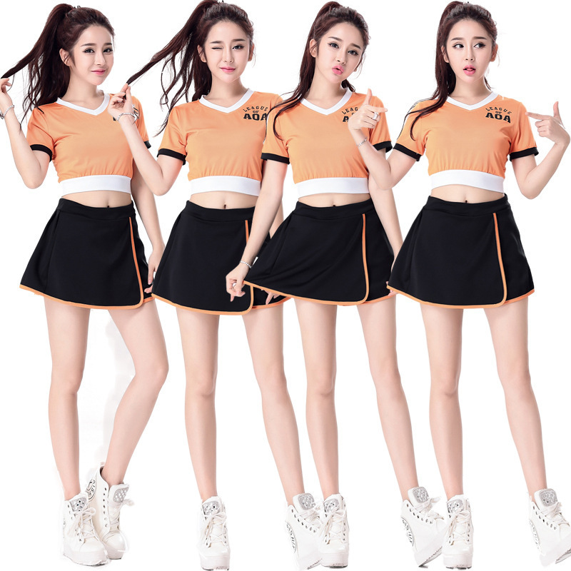 Orange Color Classic Pure School Girl Costume Cheerleader Dirndl Korean Japanese NOWCOS Sexy Cosplay School Uniform